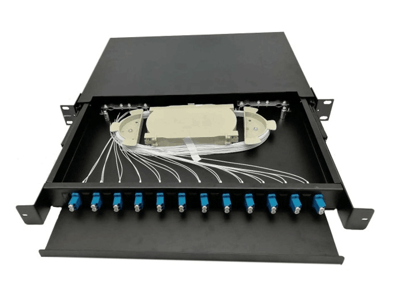 19 inch Din Rail ODF 24 Port Fiber Optic Patch panel Sliding Type